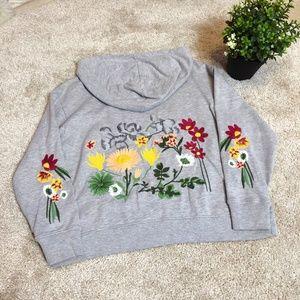 ZARA Embroidered Floral Sweatshirt Hoodies Gray S
